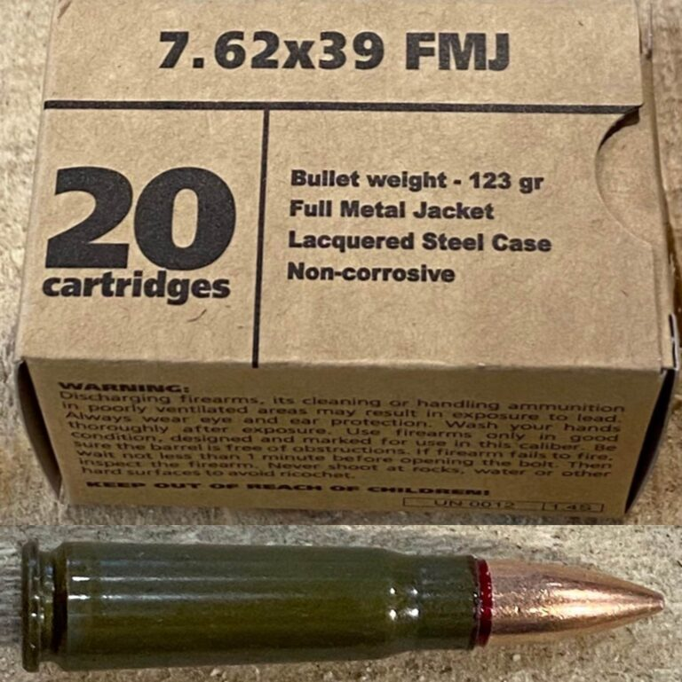 Barnaul 7.62 X 39 FMJ 123 Grain Lacquered Steel Case Non Corrosive Box of 20 Cartridges
